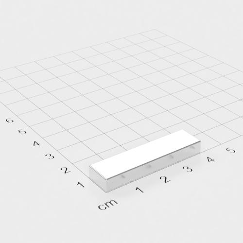 Neodym Quadermagnet, 40x10x5mm, vernickelt, Grade N45