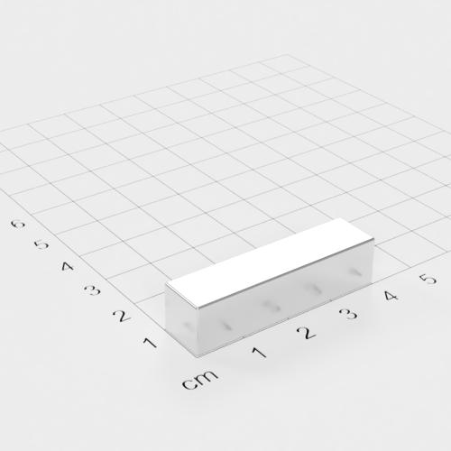 Neodym Quadermagnet, 40x10x10mm, vernickelt, Grade N45