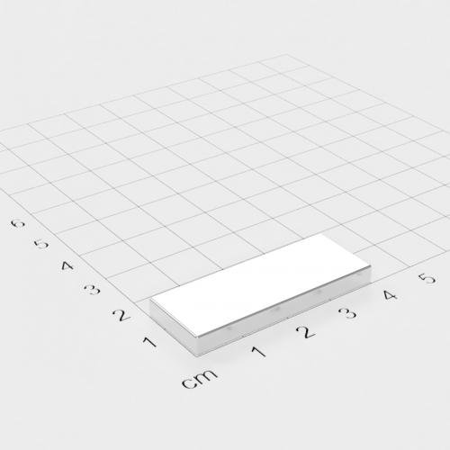 Neodym Quadermagnet, 40x15x5mm, vernickelt, Grade N45