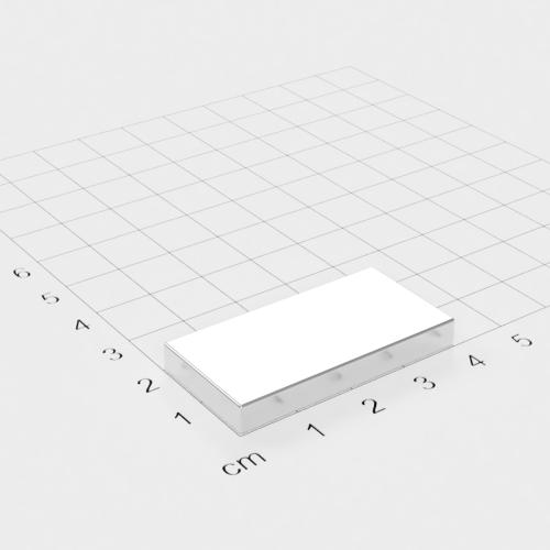 Neodym Quadermagnet, 40x20x5mm, vernickelt, Grade N52
