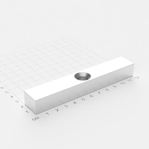 Neodym Quadermagnet mit Bohrung und Senkung, 120x20x15mm, 10.5mm Bohrung, vernickelt, Grade N45
