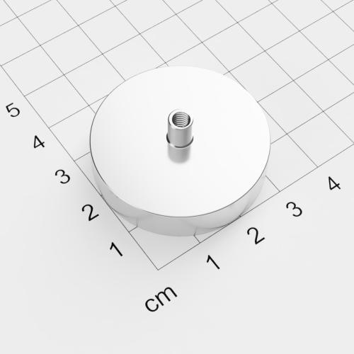 Topfmagnet mit Innengewinde, D=36mm, H=8mm, vernickelt, Grade N38, Gewinde M4