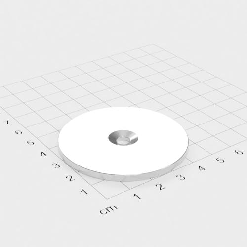 Metallscheibe 52x3mm mit Bohrung und Senkung - Haftgrund