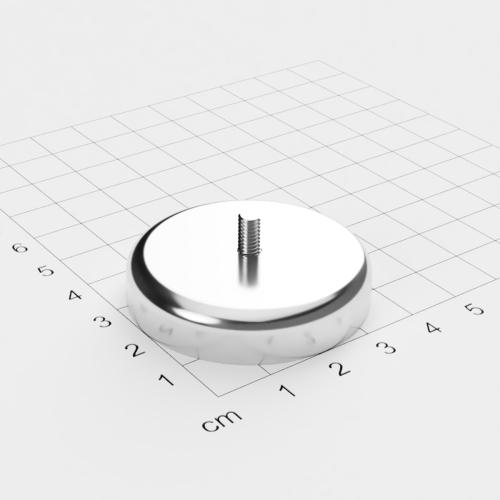 Topfmagnet mit Außengewinde, D=42mm, H=9mm, vernickelt, Grade N35, Gewinde M4