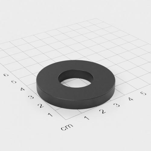 Maße Ferrit Ringmagnet, 45x6mm mit 20mm Bohrung, Grade Y30