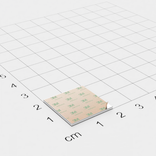 Neodym Quadermagnet, 20x20x1mm, vernickelt, selbstklebend, Grade N35 - Anziehend