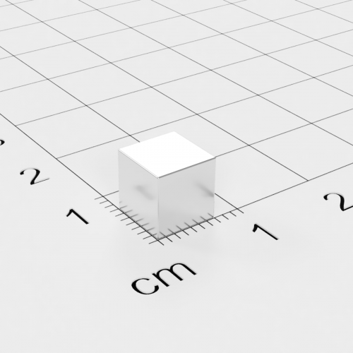 Neodym Würfelmagnet, 7x7x7mm, vernickelt, Grade N45