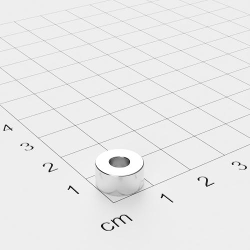 Neodym Ringmagnet, 10x5mm mit 4mm Bohrung, vernickelt, Grade N45