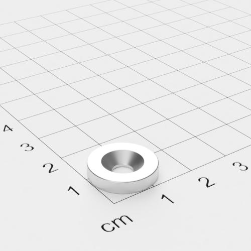 Neodym Scheibenmagnet mit Bohrung und Senkung, 15x3mm, 4.5mm Bohrung, vernickelt, Grade N45