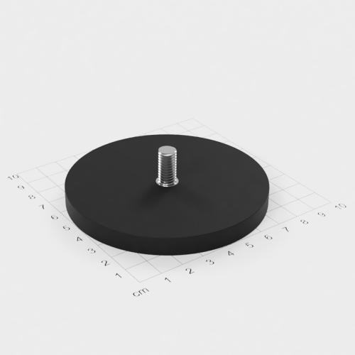 Magnetsystem mit Außengewinde, D=88mm, H=8.5mm, gummiert, Grade N35, Gewinde M8