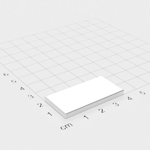 Neodym Quadermagnet, 40x20x3mm, vernickelt, Grade N52