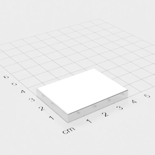 Neodym Quadermagnet, 40x30x5mm, vernickelt, Grade N45