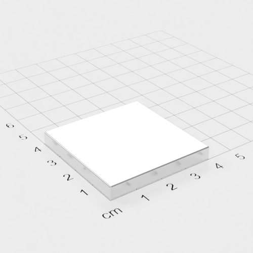 Neodym Quadermagnet, 40x40x5mm, vernickelt, Grade N45