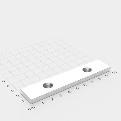 Neodym Quadermagnet mit Bohrung und Senkung, 100x20x5mm, 2x6.5mm Bohrung, vernickelt, Grade N52