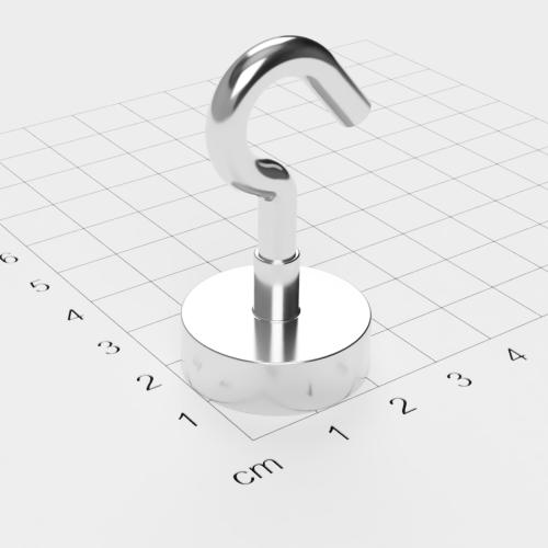 Topfmagnet mit Haken, D=25 mm, H=8 mm, vernickelt, Grade N35, Gewinde M5