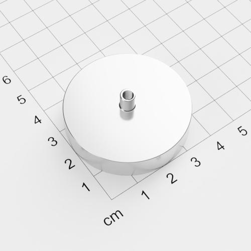 Topfmagnet mit Innengewinde, D=42mm, H=9mm, vernickelt, Grade N35, Gewinde M4