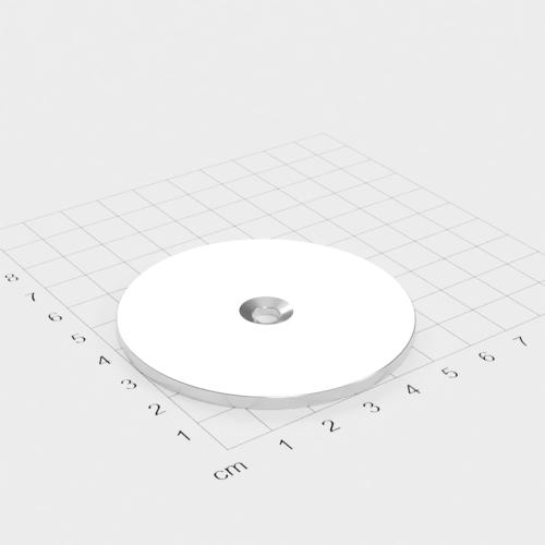 Metallscheibe 62x3mm mit Bohrung und Senkung - Haftgrund