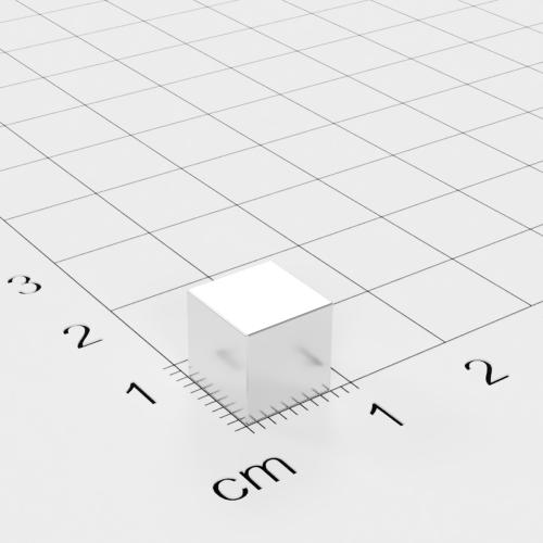 Neodym Würfelmagnet, 8x8x8mm, vernickelt, Grade N45