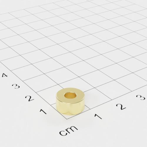 Neodym Ringmagnet, 10x5mm mit 4mm Bohrung, vergoldet, Grade N42