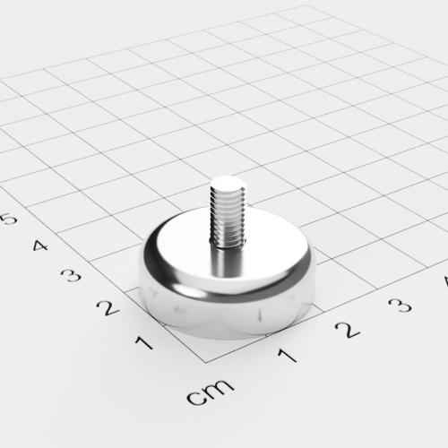 Topfmagnet mit Außengewinde, D=25mm, H=8mm, vernickelt, Grade N42, Gewinde M5