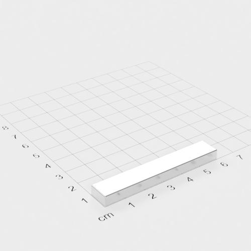 Neodym Quadermagnet, 60x10x5mm, vernickelt, Grade N45