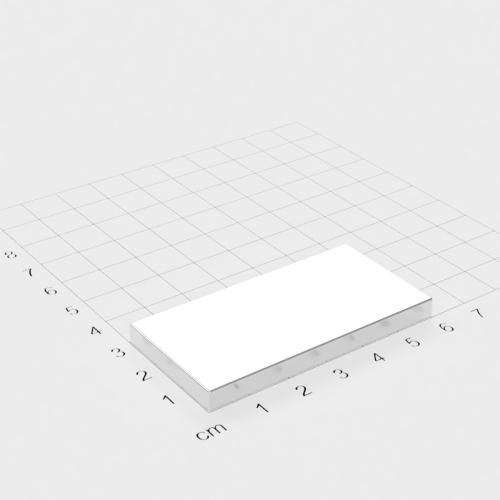 Neodym Quadermagnet, 60x30x5mm, vernickelt, Grade N45