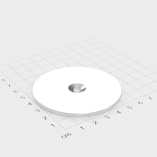 Metallscheibe 65x3mm mit Bohrung und Senkung - Haftgrund
