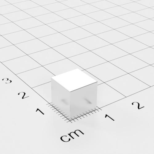 Neodym Würfelmagnet, 9x9x9mm, vernickelt, Grade N42