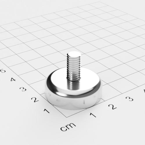 Topfmagnet mit Außengewinde, D=25mm, H=8mm, vernickelt, Grade N42, Gewinde M6