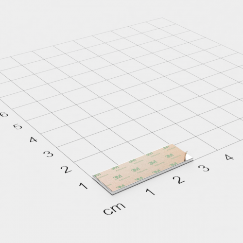 Neodym Quadermagnet, 30x10x1mm, vernickelt, selbstklebend, Grade N35 - Anziehend