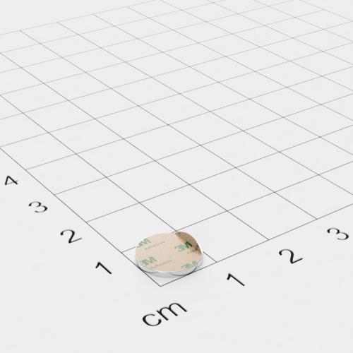Neodym Scheibenmagnet, 10x1mm, vernickelt, selbstklebend, Grade N35 - Anziehend