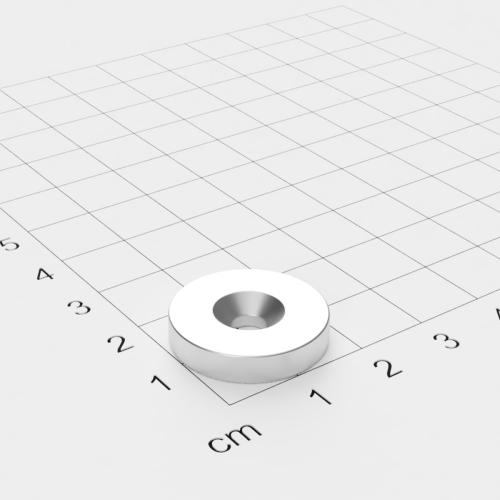 Neodym Scheibenmagnet mit Bohrung und Senkung, 20x4mm, 4.5mm Bohrung, vernickelt, Grade N45