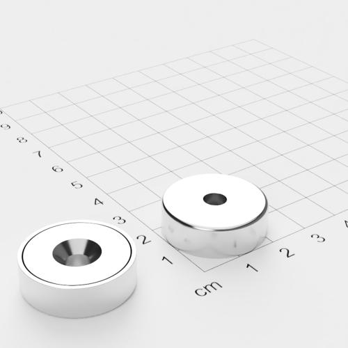 Topfmagnet mit Bohrung und Senkung, 25x8mm, Bohrung 5.5mm, vernickelt, Grade N35