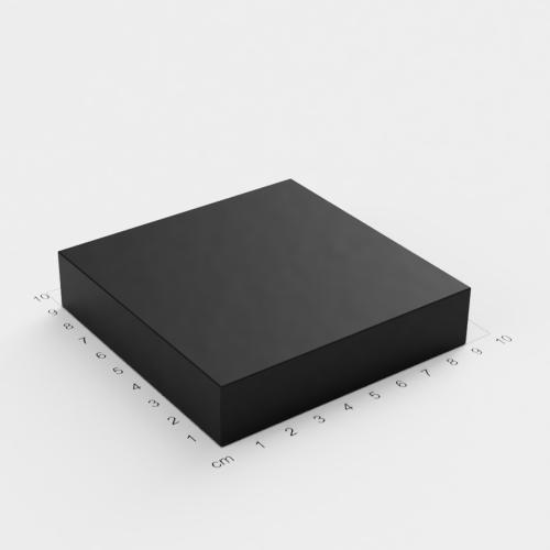 Neodym Quadermagnet, 90x90x20mm, schwarze Epoxyd-Beschichtung, Grade N52