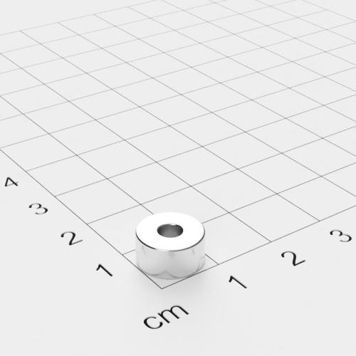 Neodym Ringmagnet, 10x5mm mit 3,4mm Bohrung, vernickelt, Grade N45