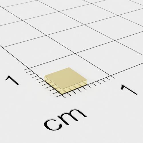 Neodym Quadermagnet, 5x5x1mm, vergoldet, Grade N48
