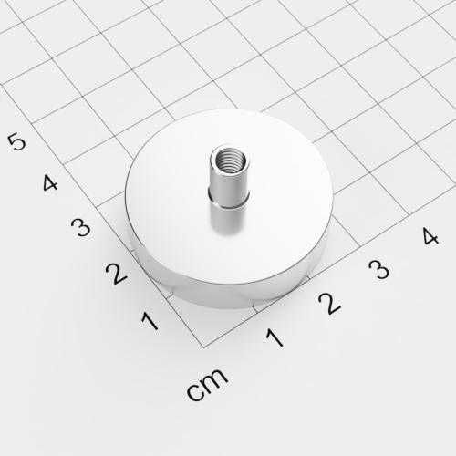 Topfmagnet mit Innengewinde, D=32mm, H=8mm, vernickelt, Grade N35, Gewinde M5