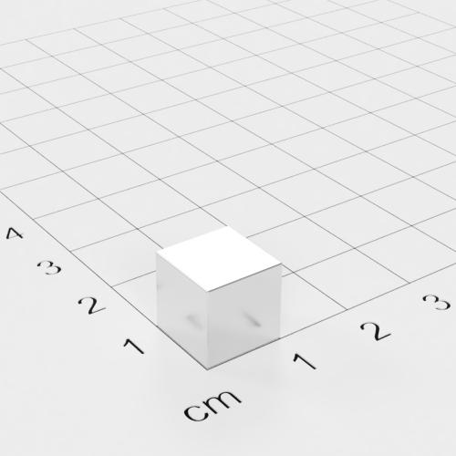 Neodym Würfelmagnet, 10x10x10mm, vernickelt, Grade N52