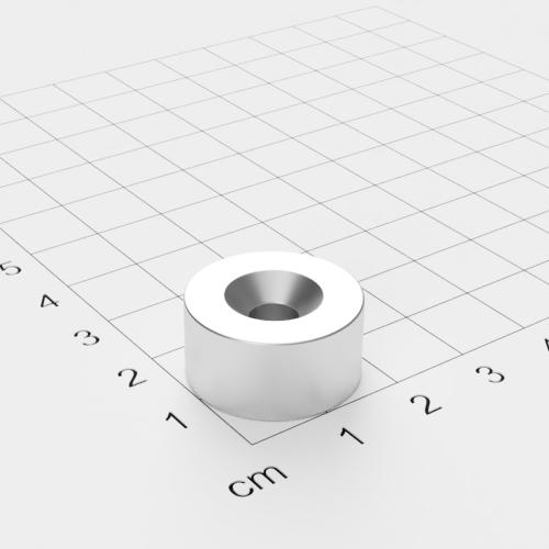 Neodym Scheibenmagnet mit Bohrung und Senkung, 20x10mm, 5.5mm Bohrung, vernickelt, Grade N45