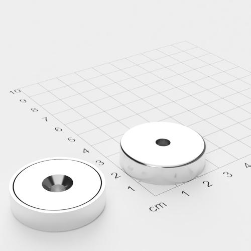 Topfmagnet mit Bohrung und Senkung, 32x8mm, Bohrung 5.5mm, vernickelt, Grade N35