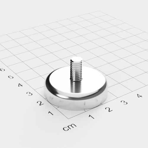 Topfmagnet mit Außengewinde, D=32mm, H=8mm, vernickelt, Grade N42, Gewinde M6