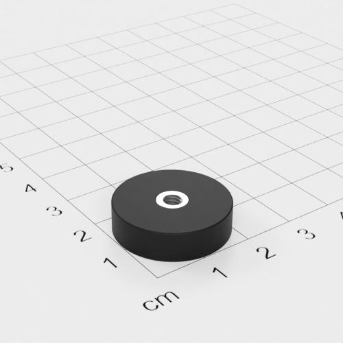 Magnetsystem mit Innengewinde, D=22mm, H=6mm, gummiert, Grade N35, Gewinde M4