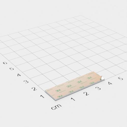 Neodym Quadermagnet, 40x12x1mm, vernickelt, selbstklebend, Grade N35 - Anziehend