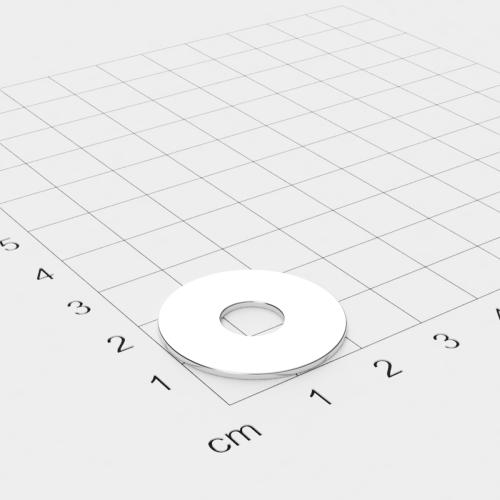 Neodym Ringmagnet, 24x1mm mit 8mm Bohrung, vernickelt, Grade N45