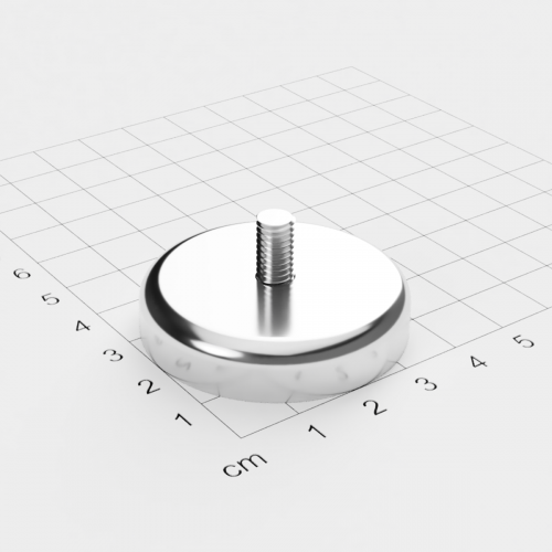 Topfmagnet mit Außengewinde, D=42mm, H=9mm, vernickelt, Grade N35, Gewinde M6