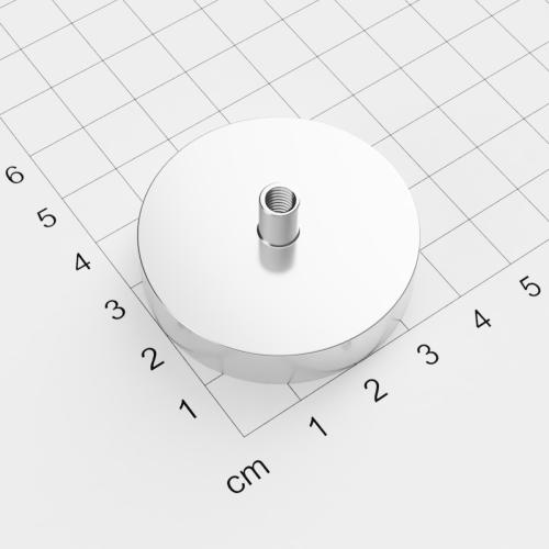 Topfmagnet mit Innengewinde, D=42mm, H=9mm, vernickelt, Grade N35, Gewinde M5