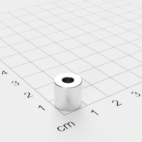 Neodym Ringmagnet, 10x10mm mit 4mm Bohrung, vernickelt, Grade N45