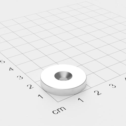 Neodym Scheibenmagnet mit Bohrung und Senkung, 23x4mm, 4.5mm Bohrung, vernickelt, Grade N40