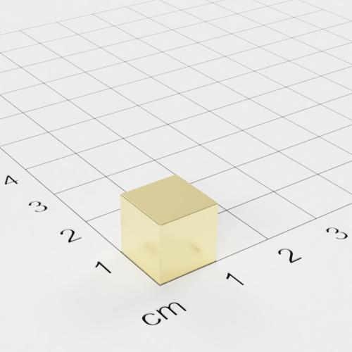 Neodym Würfelmagnet, 10x10x10mm, vergoldet, Grade N52