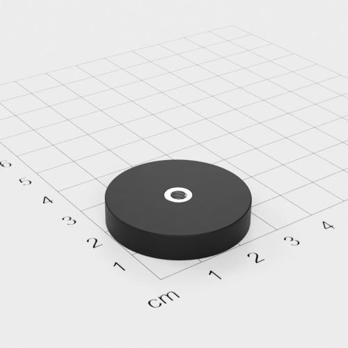 Magnetsystem mit Innengewinde, D=31mm, H=6mm, gummiert, Grade N35, Gewinde M4